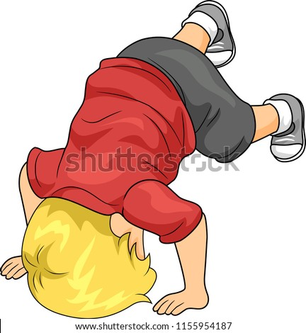 Illustration of a Kid Boy Toddler Playing and Tumbling
