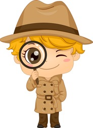 Illustration of a Kid Boy Wearing Detective Costume with Brown Hat, Trench Coat and Magnifying Glass