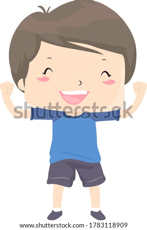 Illustration of a Kid Boy with Arms and Hands Up Showing an Able, Strong and Happy Disposition Stock photo ©