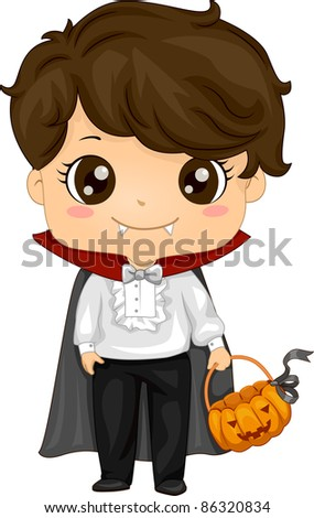 Illustration of a Kid Dressed as a Vampire