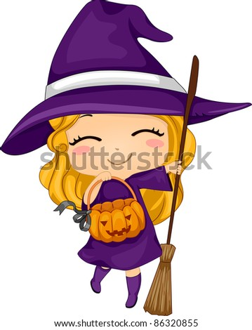 Illustration of a Kid Dressed as a Witch