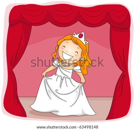 Illustration of a Kid Dressed in a Princess Costume Acting in a Stage Play