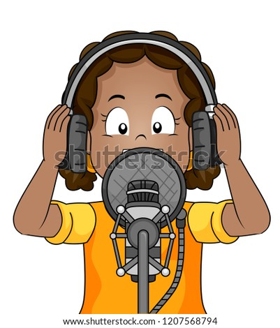 Illustration of a Kid Girl Holding Headphone and Singing a Song or Talking to a Microphone