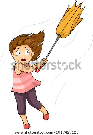 Illustration of a Kid Girl Pulling Her Umbrella Being Carried by the Strong Winds