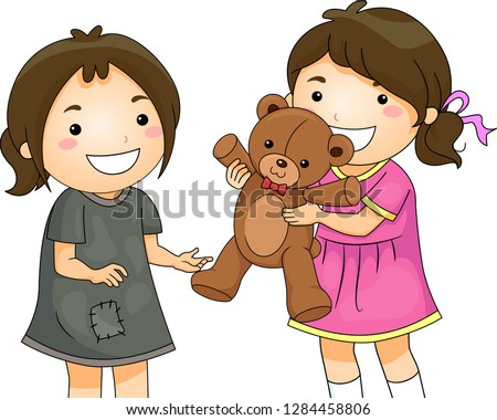 Illustration of a Kid Girl Sharing and Giving Her Teddy Bear Toy to a Less Unfortunate Kid Girl