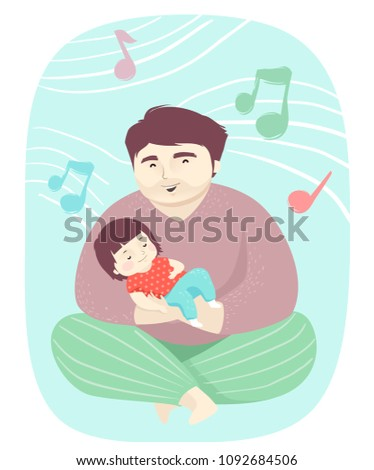 Illustration of a Kid Girl Sleeping on Her Fathers Lap with Dad Singing Lullaby
