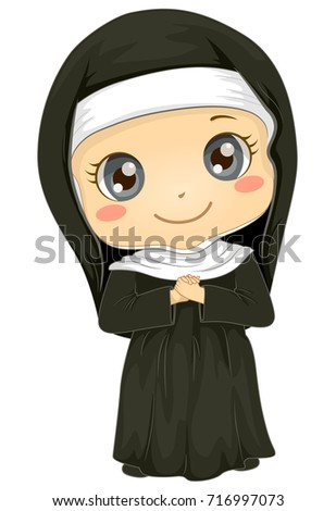Illustration of a Kid Girl Wearing a Nun Uniform for a Play