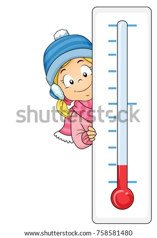 Illustration of a Kid Girl Wearing Winter Clothes and Holding a Thermometer to Show Cold Temperature