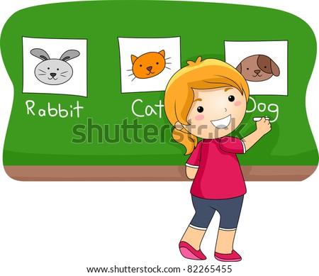 Illustration of a Kid Identifying Animals
