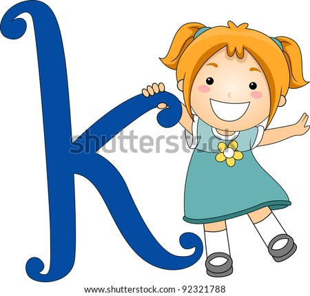 Illustration of a Kid Standing Beside a Letter K
