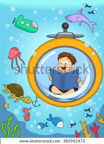 Illustration of a Kid Underwater seeing animals he was reading about