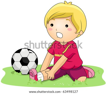 Illustration of a Kid With a Sprained Ankle