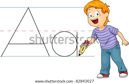 Illustration of a Kid Writing Letters