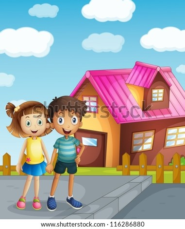 illustration of a kids and a house in a beautiful nature