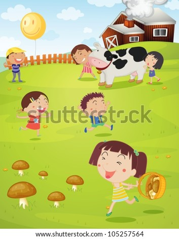 illustration of a kids playing green lawn