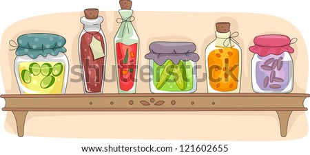 Illustration of a Kitchen Shelf Filled with Fermented Foods in Sealed Containers