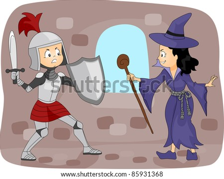 Illustration of a Knight Fighting a Witch