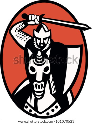 Illustration of a knight templar crusader with sword and shield riding armored horse facing front set inside ellipse.