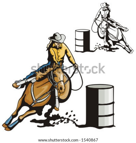 Barrel Racing Silhouette Clip Art A ladies' barrel racing.