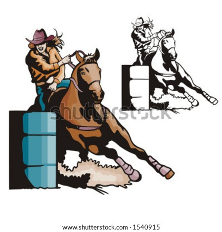 Illustration of a ladies' barrel racing.