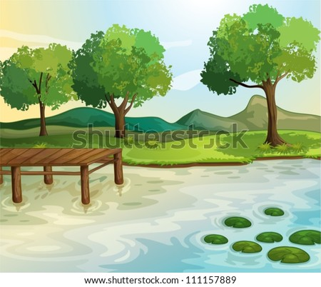Illustration of a lake scene - stock vector