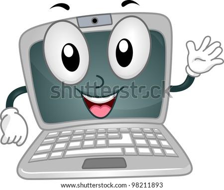 Illustration of a Laptop Mascot Waving Happily