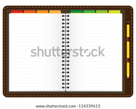 Illustration of a leather notebook with spiral, colorful tabs, pencil and blank lined paper