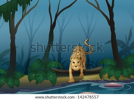 Illustration of a leopard in the middle of the forest