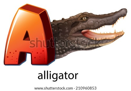 Illustration of a letter A for alligator on a white background