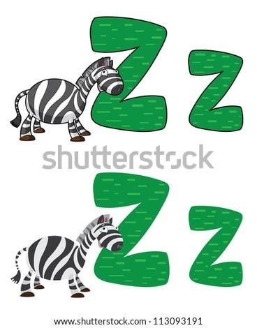 illustration of a letter Z zebra