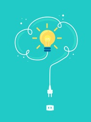 Illustration of a Light Bulb with Wire Forming a Cloud and Being Plugged into a Socket