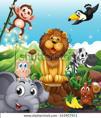 illustration of a lion above...