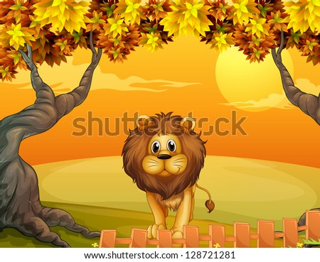 illustration of a lion near the