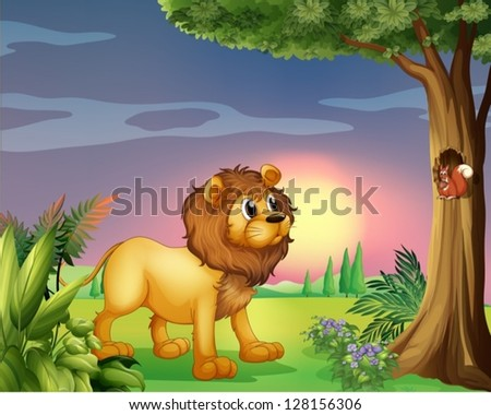 Illustration of a lion watching a squirrel