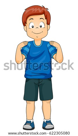 Illustration of a Little Boy Demonstrating the Different Body Parts by Touching His Shoulders