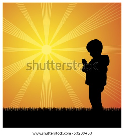 Illustration of a little boy. He stands and prays. Behind him the sun shines brightly.