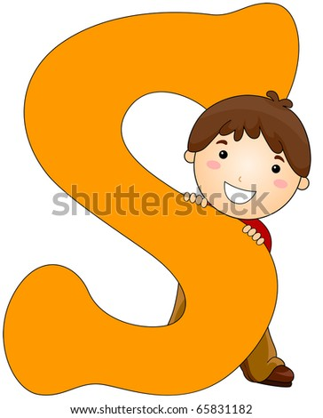 Illustration of a Little Boy Hiding Behind a Letter S