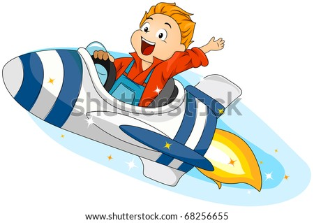 Illustration of a Little Boy Riding a Spaceship
