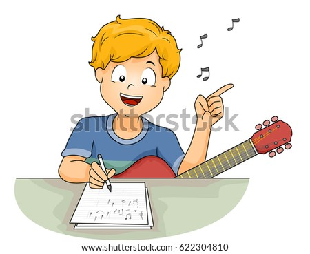 Illustration of a Little Boy with a Guitar Writing the Lyrics of a Song While Humming a Tune