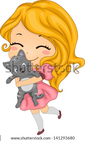 Illustration of a Little Girl Carrying her Pet Cat