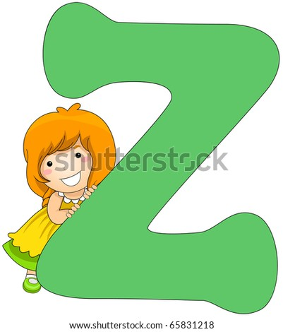 Illustration of a Little Girl Leaning Against a Letter Z