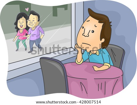 Illustration of a Lonely Man Looking at a Lovey Dovey Couple Stockfoto ©