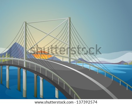 illustration of a long bridge