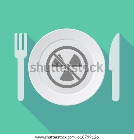 Illustration of a long shadow dish, knife and fork with  a radioactivity sign  in a not allowed signal  #610799126