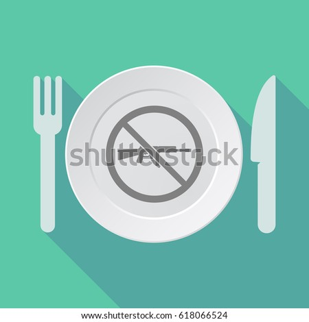 Illustration of a long shadow dish, knife and fork with  a rifle  in a not allowed signal  #618066524