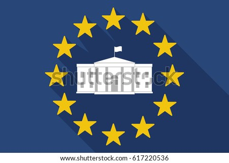Illustration of a long shadow European Union flag with  the White House building