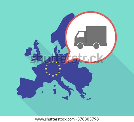 Illustration of a long shadow European Union map, its flag and a balloon with a  delivery truck