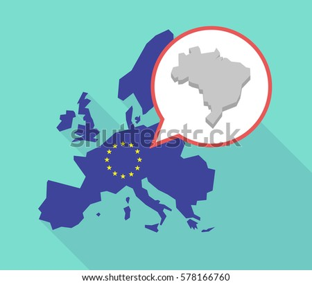 Illustration of a long shadow European Union map, its flag and a balloon with  a map of Brazil