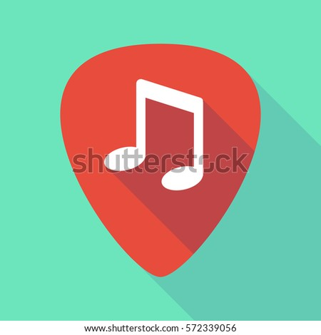 Illustration of a long shadow guitar pick with a note music