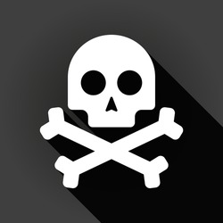 Illustration of a long shadow icon with a skull